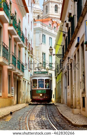 Lisbon, Portugal, 24.04.2016, old traditional tram on a narrow street in Lisbon
