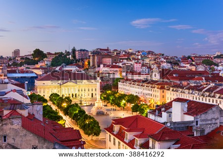 Lisbon, Portugal Pombaline district skyline over Rossio Square.