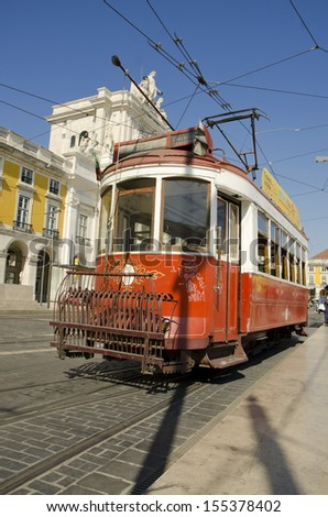 LISBON, PORTUGAL-September 16: Old tram at palace square or Commerce Square in Lisbon Portugal,  September 16, 2013, Lisbon
