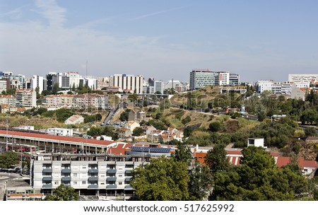 LISBON, PORTUGAL - September 30, 2016: View of Lisbon from the Aqueduct of the Free Waters, Portugal