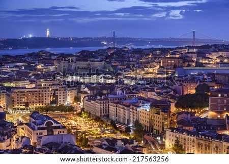 Lisbon, Portugal skyline at night. - stock photo