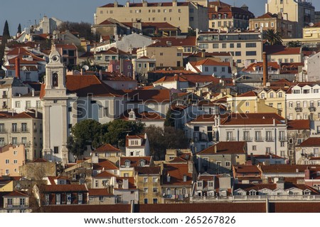 LISBON/PORTUGAL 17TH DECEMBER 2006 Alfama from Tagus River - stock photo