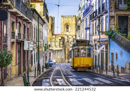Lisbon, Portugal tram. - stock photo