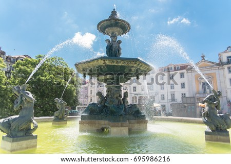 Lisbon, Rossio place, the fountain, Portugal