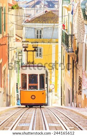 Lisbon's Gloria funicular classified in Bairro Alto in Lisbon, Portugal - stock photo