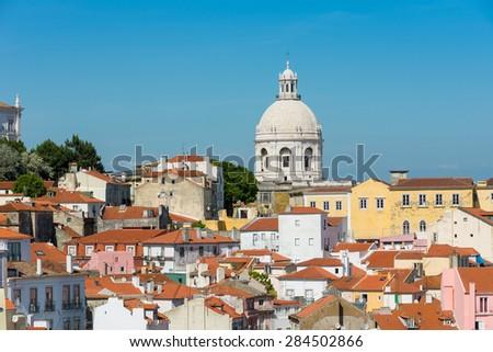 Lisbon skyline with National Pantheon dominating. - stock photo