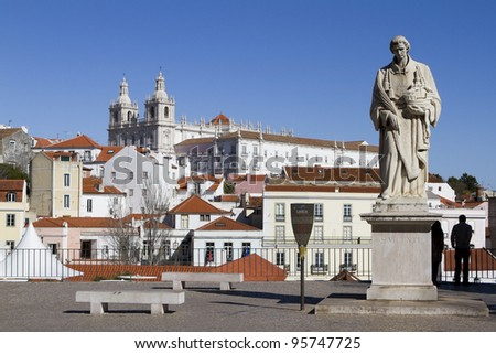 Lisbon - View of the old town (Vicente Monastery) - stock photo