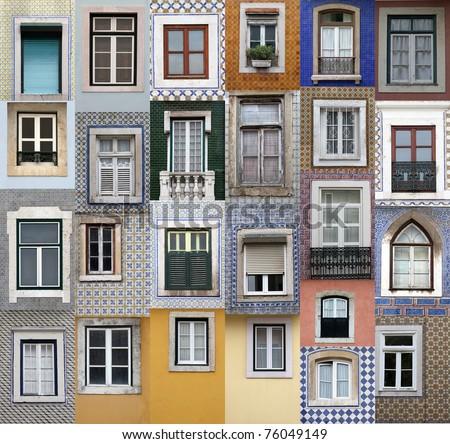 Lisbon windows - stock photo