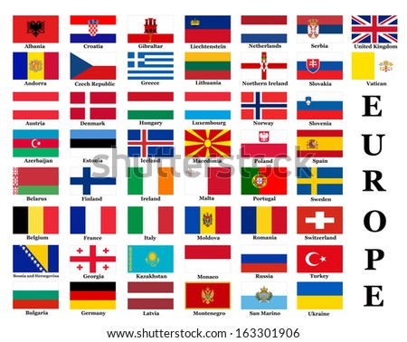 List of all European country flags  - stock photo
