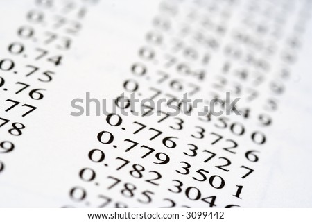 List of decimalised numbers, complex financial records - stock photo