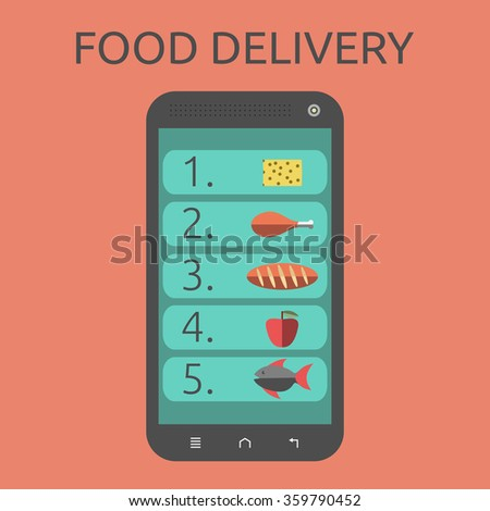 List of food on smartphone screen. Isolated on orange background. Flat style. Food delivery concept - stock photo