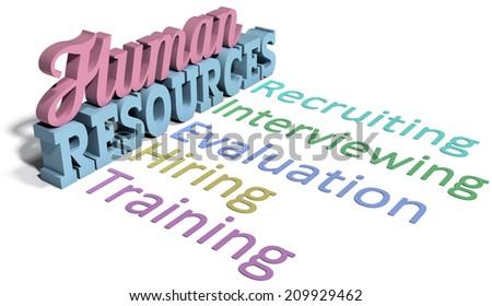 List of Human Resources words for hiring evaluation people management - stock photo