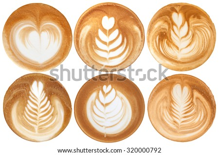List of latte art shapes on white background isolated - stock photo