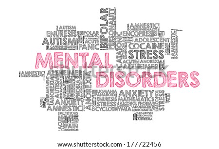 List of mental disorders in word cloud - stock photo