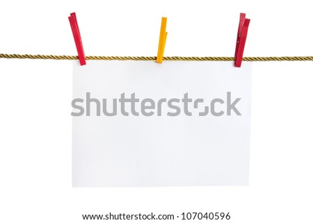 List of paper on a gold rope attached by red and yellow clothes pins isolated on white background