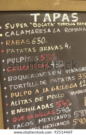 List of tapas in a bar in Barcelona - stock photo