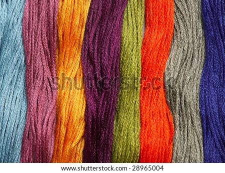 listed colourful yarn - stock photo