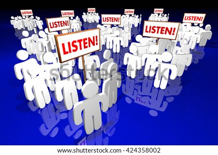 Listen Pay Attention People Signs Audience Words 3d Animation - stock photo