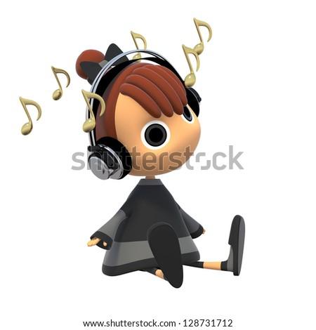 Cute Girl Headphones Listening Music Dancing Stock Illustration