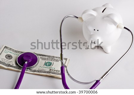 Listening to your money - stock photo