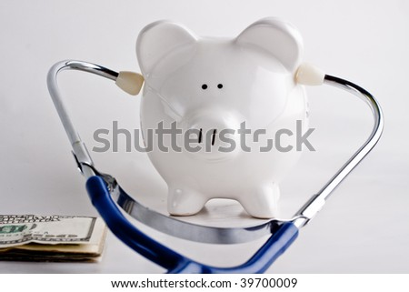 Listening to your savings, money problems - stock photo