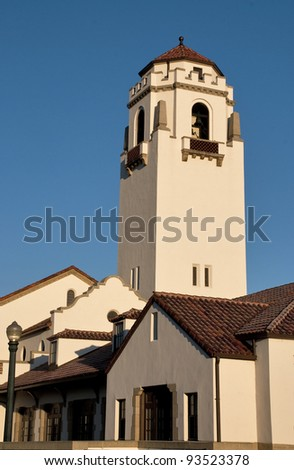 Lit by the morning sun, this is a view of the Boise Idaho Train Depot - stock photo