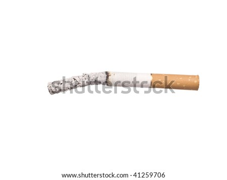 Lit cigarrette with ashes isolated on a white background - stock photo