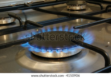 Lit Gas oven Hob - stock photo