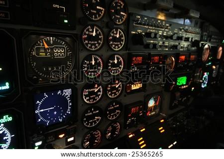 Lit instrument panel B1900D - stock photo