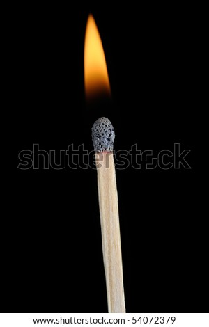 Lit Match Stick extreme Closeup - stock photo