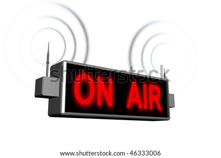 lit on air sign with audio waves - stock photo