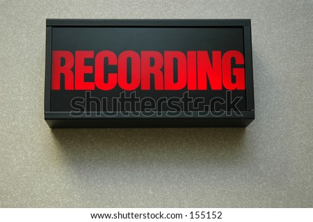 lit recording sign - stock photo