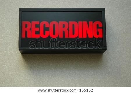 lit recording sign - stock photo