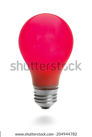 Lit Red Lightbulb Isolated on White Background. - stock photo
