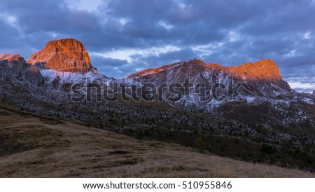 Lit up cliffs of Dolomiti mountains in Italy