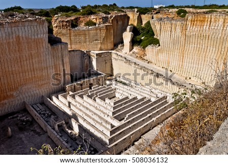 Lithica - sandstone quarry with original labirynth. Minorca, Spain