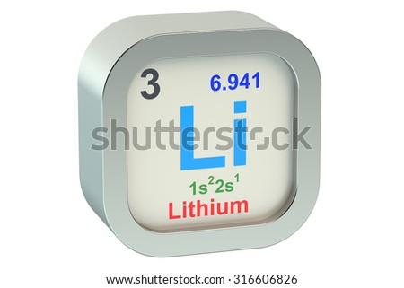Lithium element symbol isolated on white background - stock photo