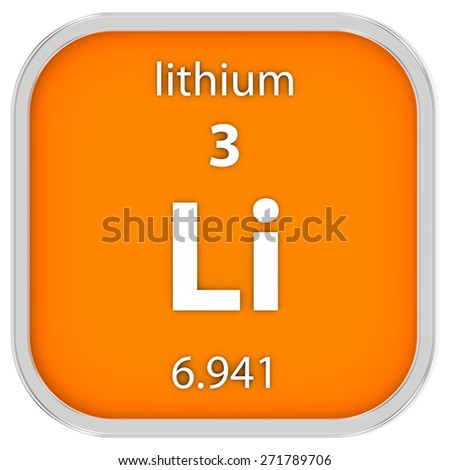 Lithium material on the periodic table. Part of a series.