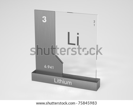 Lithium - symbol Li - chemical element of the periodic table - stock photo