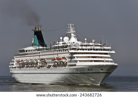 LITHUANIA-AUG 07:Cruise liner ARTANIA in the Baltic sea on August 07,2013 in Lithuania. - stock photo