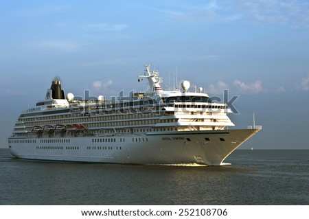 LITHUANIA_AUG 05:cruise liner CRYSTAL SYMPHONYin the Baltic sea on August 05,2012 in Lithuania. - stock photo