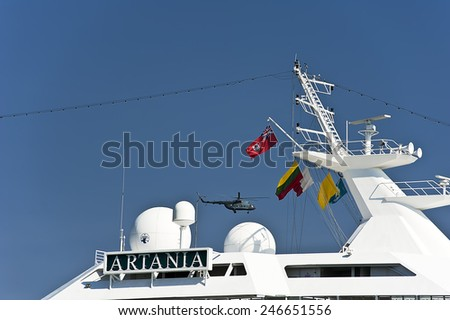 LITHUANIA- AUG 07:cruise liner on August 07,2013 in Lithuania.MV Artania, is a cruise ship of the Phoenix Reisen fleet. - stock photo