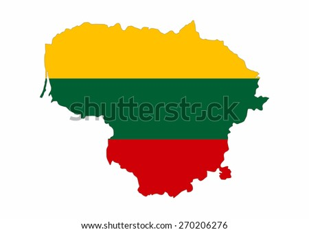 lithuania country flag map shape national symbol - stock photo