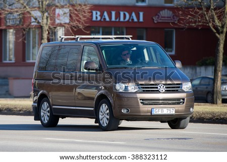 LITHUANIA - FEB 26: VW Transporter T5 on Feb. 26, 2016 in Lithuania. The Volkswagen Transporter/Caravelle/Multivan (T5) is a van produced by the German manufacturer Volkswagen Commercial Vehicles. - stock photo