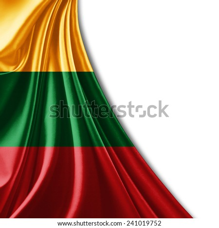 Lithuania flag and white background - stock photo