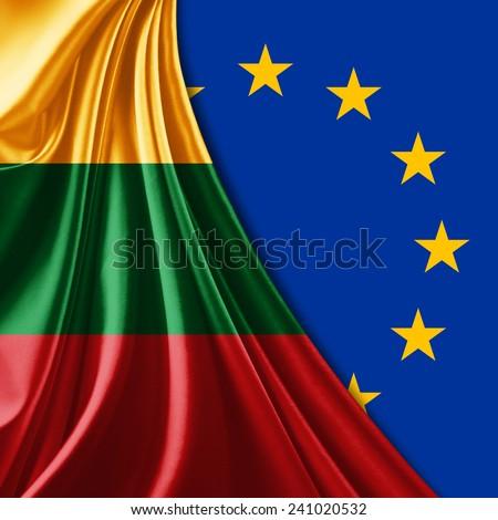 Lithuania flag,European flag - stock photo