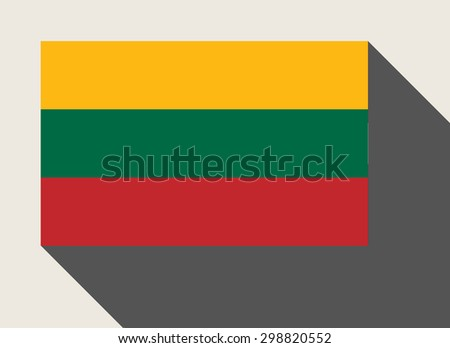 Lithuania flag in flat web design style. - stock photo