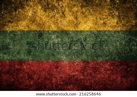 Lithuania flag on the grunge concrete wall - stock photo