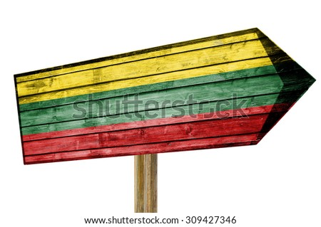 Lithuania Flag wooden sign isolated on white - stock photo