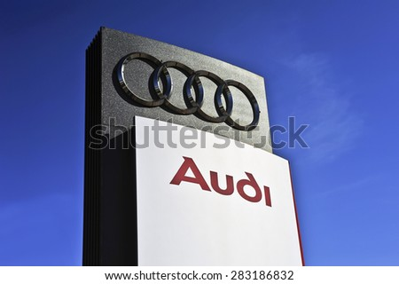 LITHUANIA - JUNE 01:AUDI logo on June 01, 2015 in Lithuania. Audi receives the Best Employer 2014 Award in Germany in January 2014.  - stock photo